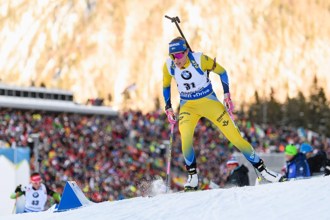 Hanna Öberg tävlar under damernas 7,5 sprinttävling under världscupen i Tyskland 2019. (Foto: Matthias Balk /dpa/AFP)