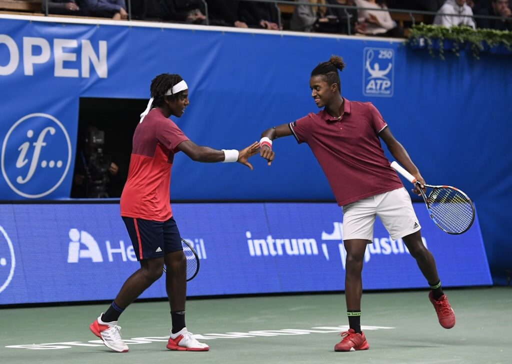 Elias och Mikael Ymer under Stockholm Open Tennis